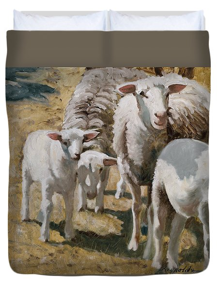 Duvet Cover featuring the painting The Whole Family Is Here by John Reynolds