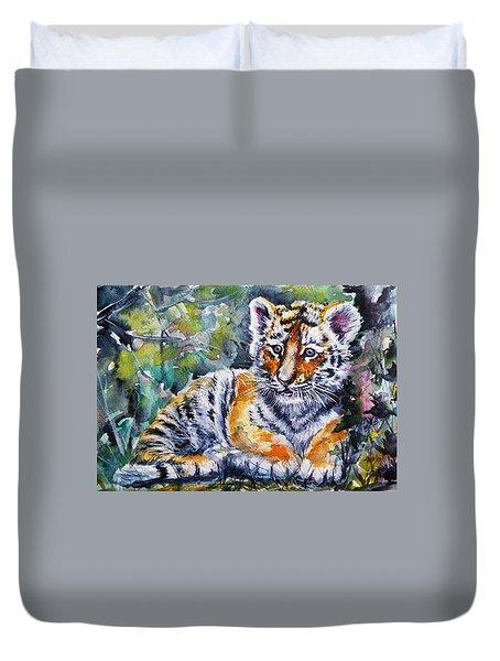 Duvet Cover featuring the painting Tiger Cub by Kovacs Anna Brigitta