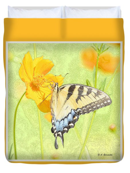 Duvet Cover featuring the digital art Tiger Swallowtail Butterfly On Cosmos Flower by A Gurmankin