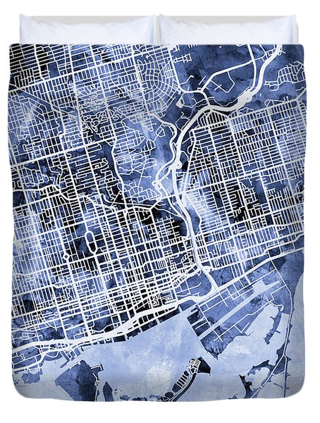 Toronto Street Map Duvet Cover