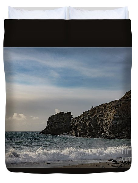 Duvet Cover featuring the photograph Trevellas Cove Cornwall by Brian Roscorla