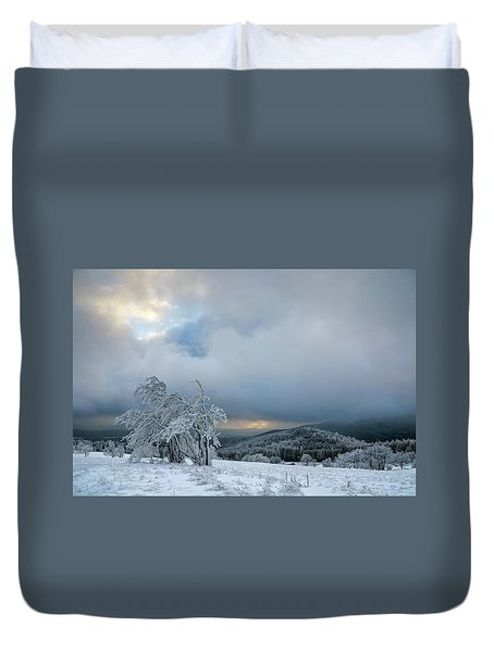 Typical Snowy Landscape In Ore Mountains, Czech Republic. Duvet Cover