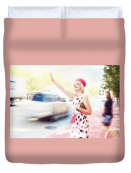 Vintage Val The Coral Hat Duvet Cover by Jill Wellington