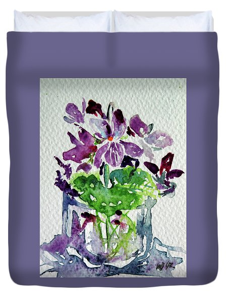 Duvet Cover featuring the painting Violet by Kovacs Anna Brigitta