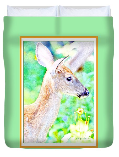 Duvet Cover featuring the digital art Whitetailed Deer Fawn by A Gurmankin