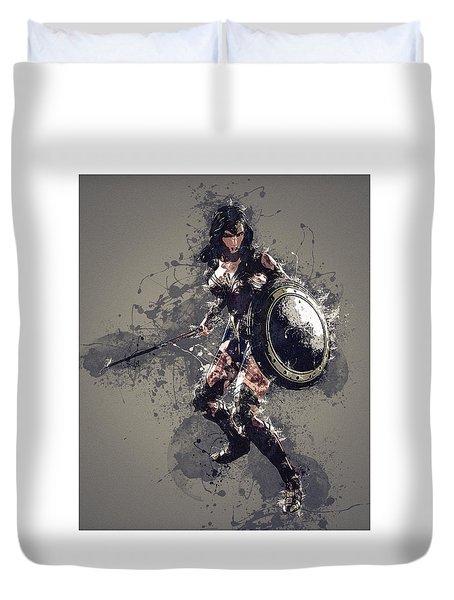 Wonder Woman Duvet Cover by Elena Kosvincheva