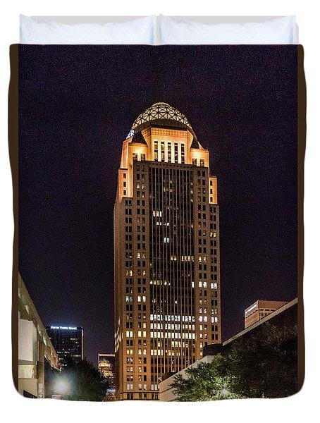 Duvet Cover featuring the photograph 400 West Market by Randy Scherkenbach