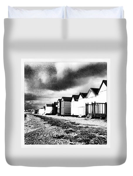 Black And White Beach Huts Duvet Cover