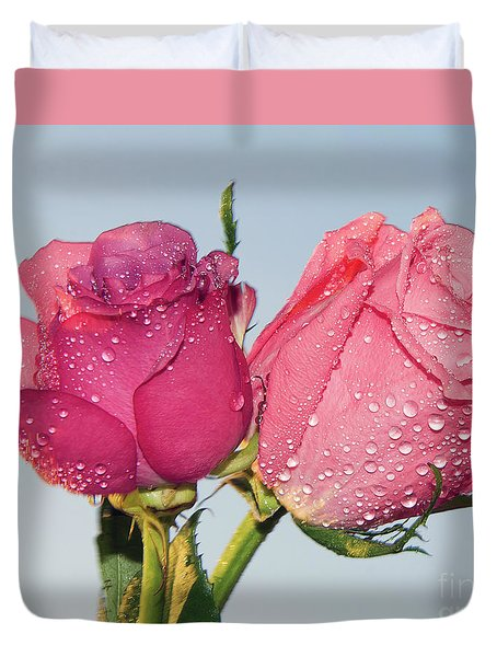 Two Roses Duvet Cover by Elvira Ladocki