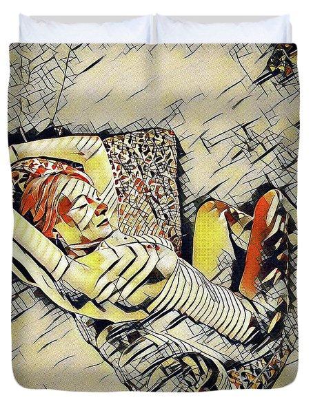4248s-jg Zebra Striped Woman In Armchair By Window Erotica In The Style Of Kandinsky Duvet Cover