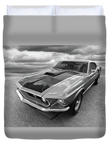 428 Cobra Jet Mach1 Ford Mustang 1969 In Black And White Duvet Cover