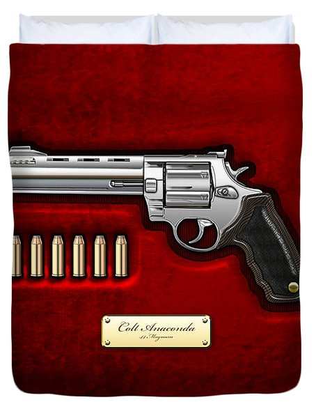 .44 Magnum Colt Anaconda On Red Velvet  Duvet Cover
