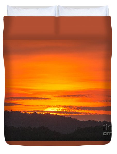 Duvet Cover featuring the photograph Sunset by Odon Czintos