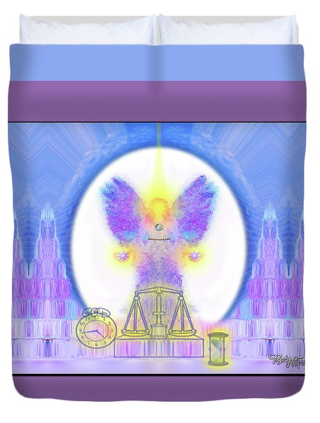 Duvet Cover featuring the digital art 444 Justice #197 by Barbara Tristan