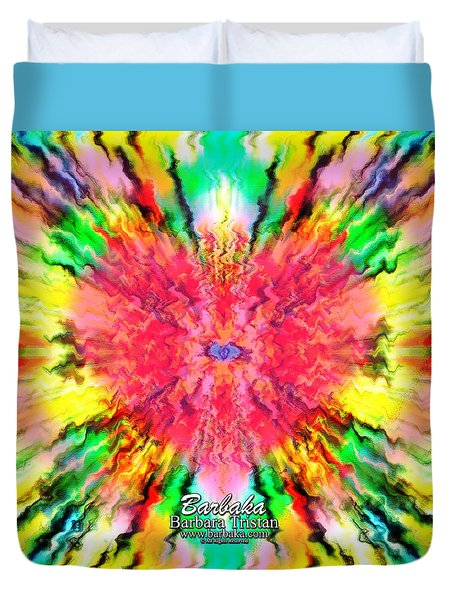 Duvet Cover featuring the mixed media 444 Loves Vibration by Barbara Tristan