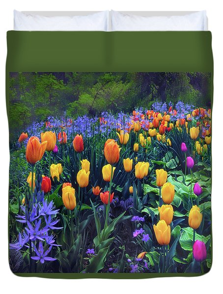 Procession Of Tulips Duvet Cover