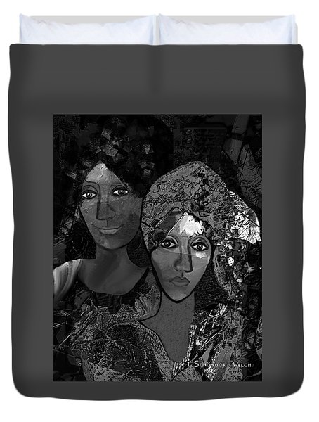 Duvet Cover featuring the digital art 452 - Secrets Of Friendship by Irmgard Schoendorf Welch