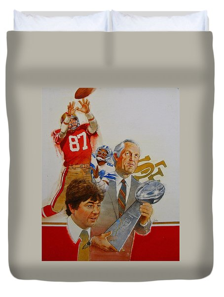 Duvet Cover featuring the painting 49rs Media Guide Cover 1982 by Cliff Spohn