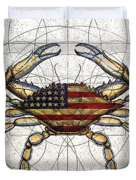 4th Of July Crab Duvet Cover