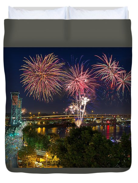 4th Of July Fireworks Duvet Cover by David Gn