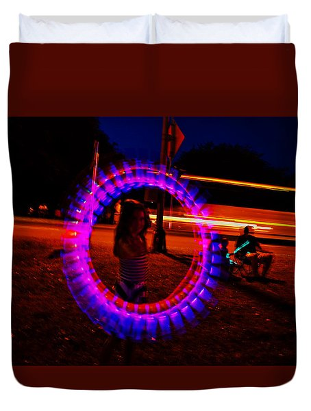 4th Of July - Glow Sticks On A String Duvet Cover by George Bostian