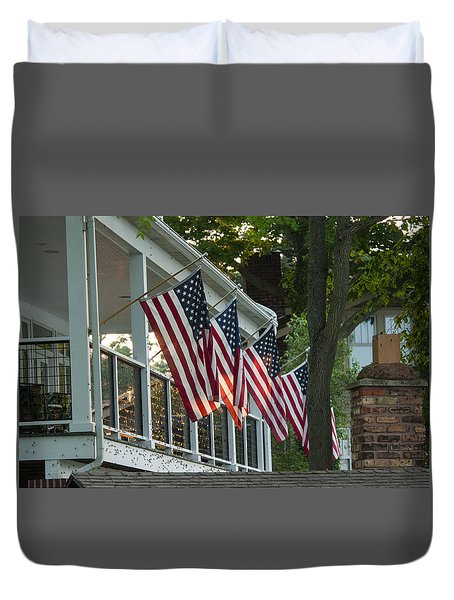 4th Of July Porch Duvet Cover
