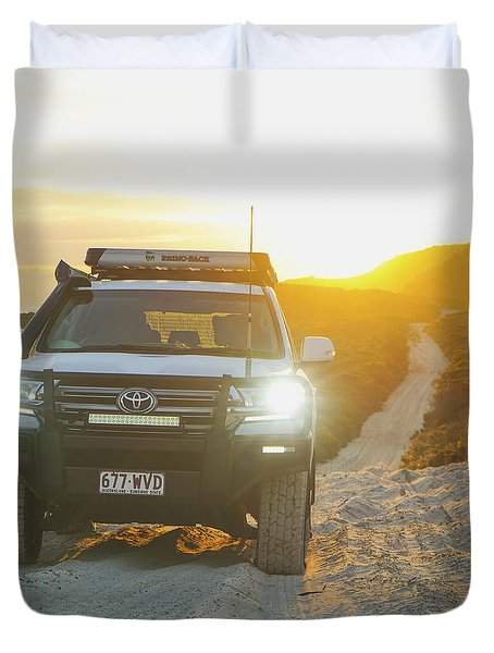 4wd Car Explores Sand Track In Early Morning Light Duvet Cover