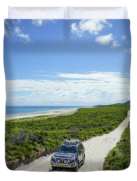 4wd Car Exploring Remote Track On Sand Island Duvet Cover