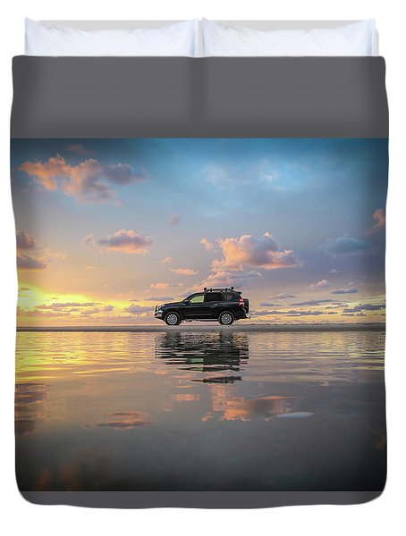 4wd Vehicle And Stunning Sunset Reflections On Beach Duvet Cover