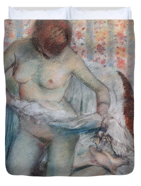 After The Bath Duvet Cover by Edgar Degas