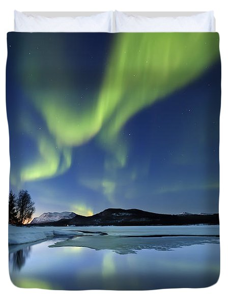Aurora Borealis Over Sandvannet Lake Duvet Cover by Arild Heitmann