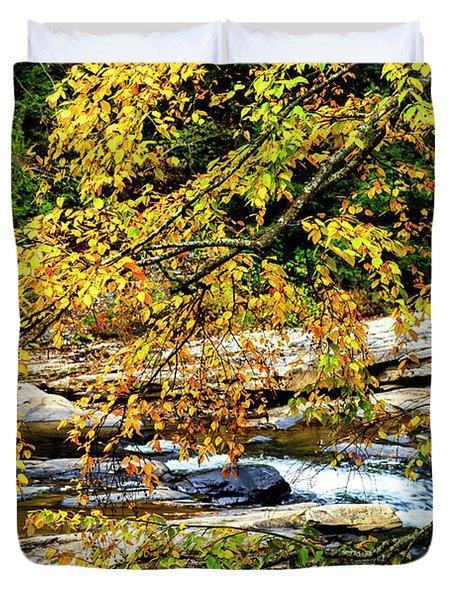 Autumn Middle Fork River Duvet Cover