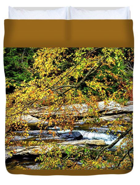 Autumn Middle Fork River Duvet Cover by Thomas R Fletcher