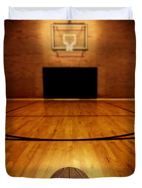 Basketball And Basketball Court Duvet Cover