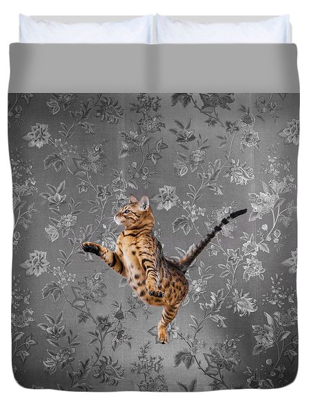 Bengal Cat Jumping Duvet Cover