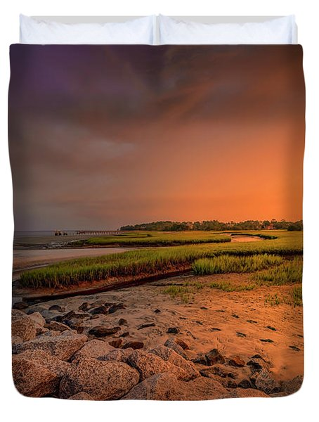 Duvet Cover featuring the photograph Big Talbot Island by Peter Lakomy