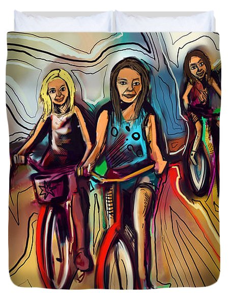 5 Bike Girls Duvet Cover