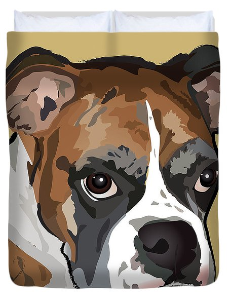 Boxer Dog Portrait Duvet Cover