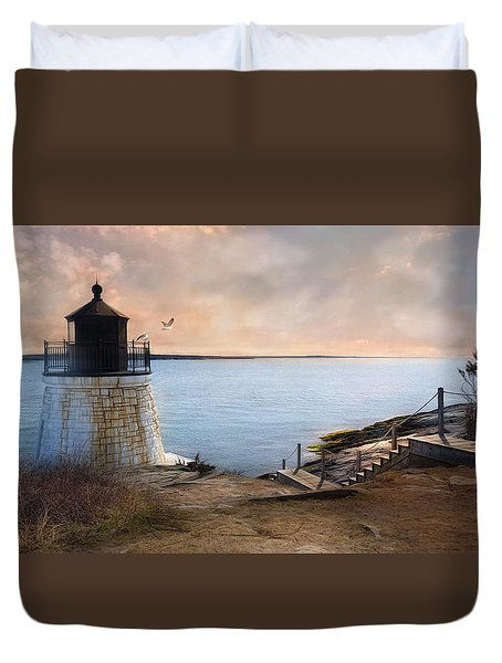 Duvet Cover featuring the photograph Castle Hill Light by Robin-Lee Vieira