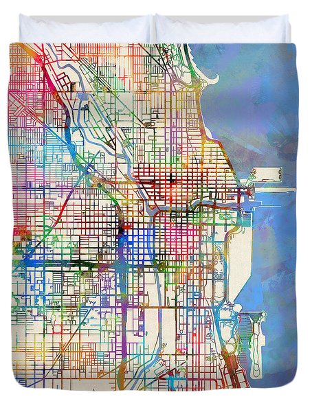 Chicago City Street Map Duvet Cover by Michael Tompsett