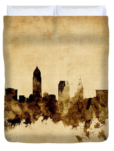 Cleveland Ohio Skyline Duvet Cover