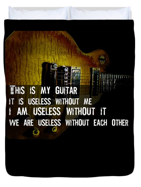Duvet Cover featuring the photograph Colorful Music Rock N Roll Guitar Retro Distressed  by Guitar Wacky