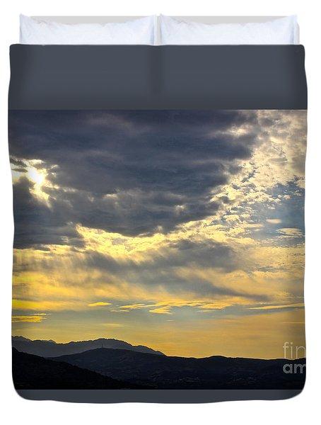 Cretan Sunset Duvet Cover by David Warrington
