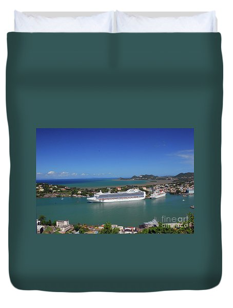 Duvet Cover featuring the photograph Cruise Ship In Port by Gary Wonning