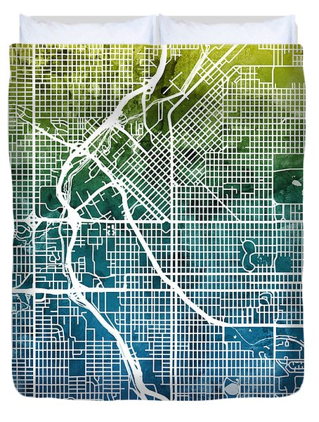 Denver Colorado Street Map Duvet Cover