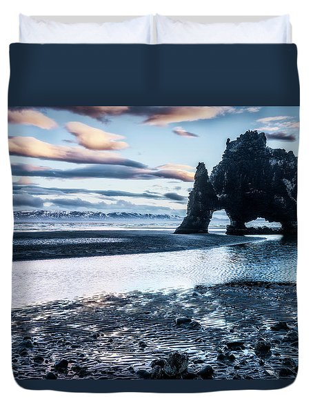 Dinosaur Rock Beach In Iceland Duvet Cover