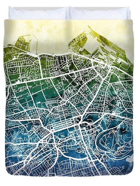 Edinburgh Street Map Duvet Cover