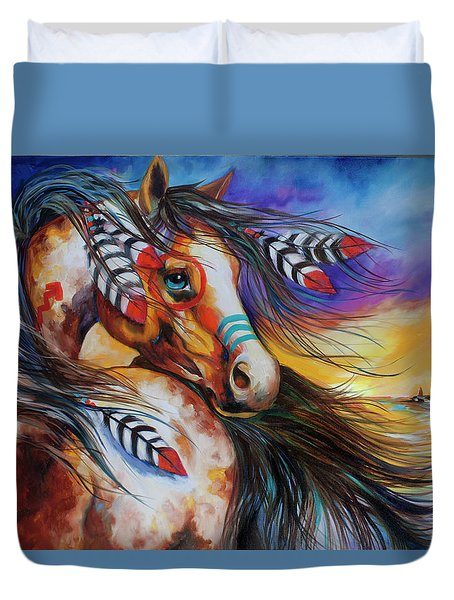 5 Feathers Indian War Horse Duvet Cover