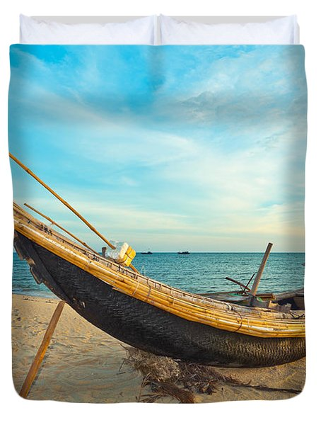 Fisherman Boat Duvet Cover by MotHaiBaPhoto Prints