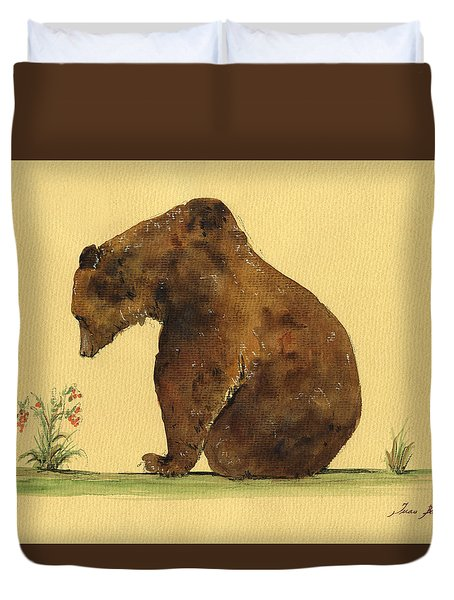 Grizzly Bear Watercolor Painting Duvet Cover by Juan  Bosco